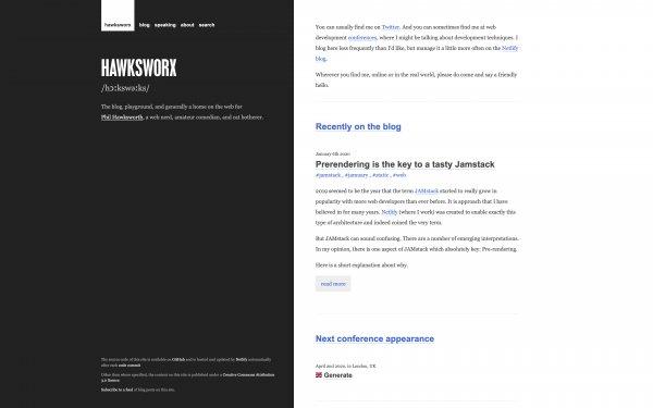 Screenshot of the website Hawksworx