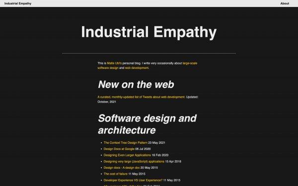Screenshot of the website Industrial Empathy