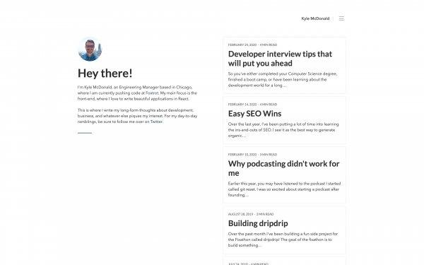 Screenshot of the website Kyle McDonald