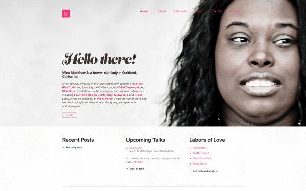 Screenshot of the website Mina Markham