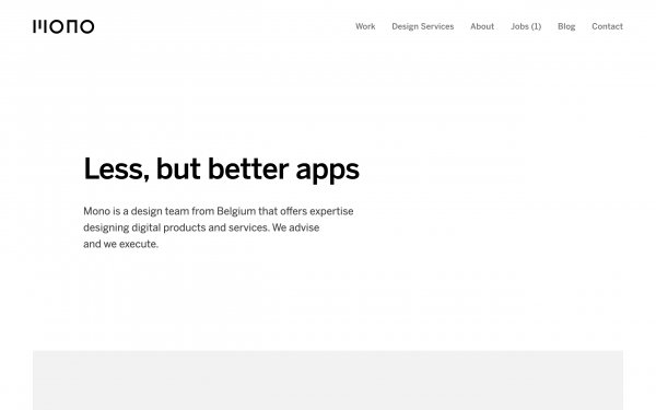 Screenshot of the website Mono