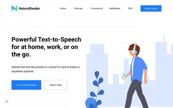 Screenshot of the website NaturalReader