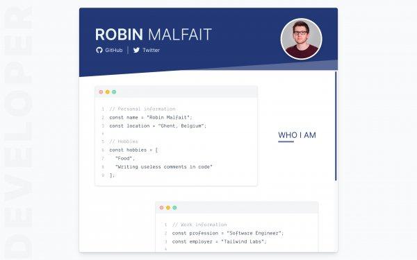 Screenshot of the website Robin Malfait