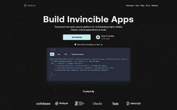Screenshot of the website Temporal.io